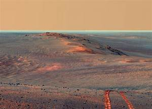 Mars Opportunity Rover's Long Tracks on Crater Rim - SpaceRef