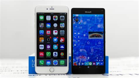 windows 10 mobile start screen vs ios home screen and the beast
