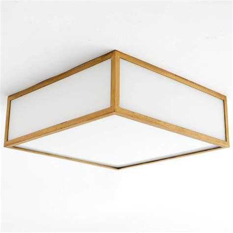 square box flush mount or wall light brass opal glass