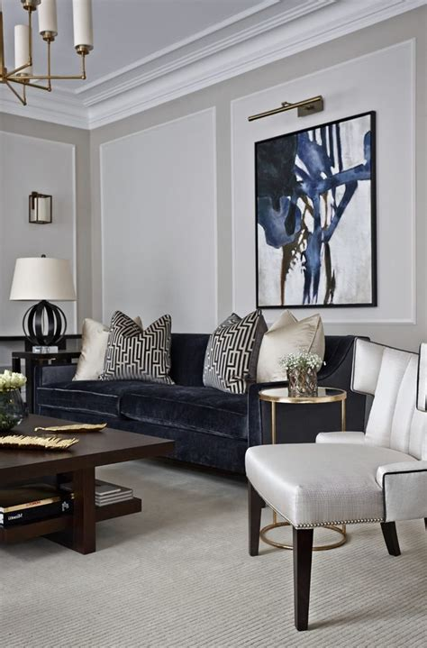 brilliant navy couch  gray chair luxury