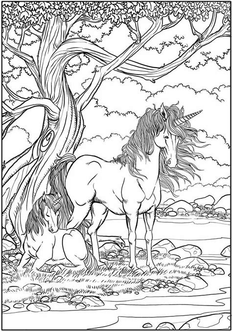 unicorns coloring page mythical creatures fantasy animals  printable  personal