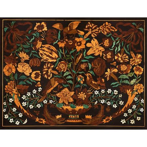 century french wooden marquetry panel  flowers