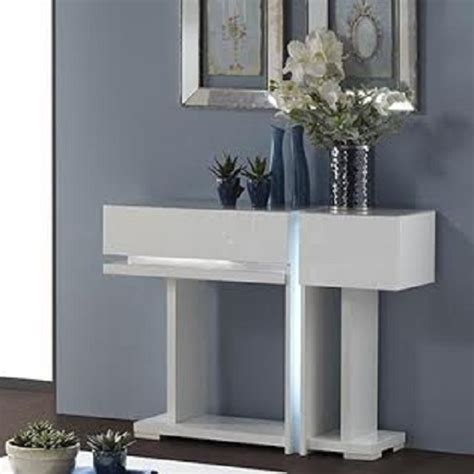 Bathroom Wall Storage Cabinets Uk by Nicoli Console Table In White High Gloss With 2 Drawers 2326