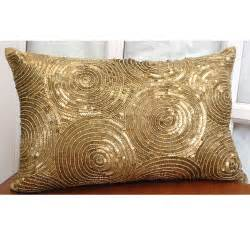 Decorative Oblong Lumbar Throw Pillow Cover Accent Pillow Couch Sofa 12x16 Inch Gold Silk Pillow Embroidered with Sequins All Eyes On Gold