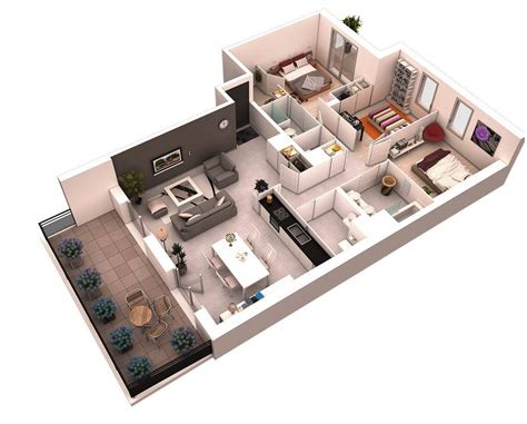 3 Bedroom Apartment House 3d Layout Floor Plans by 25 More 3 Bedroom 3d Floor Plans House Plan Ideas 집