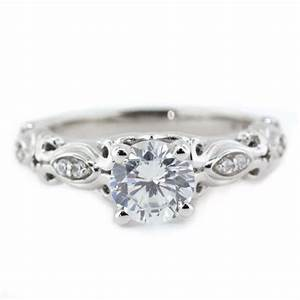 diamond accented moissanite engagement ring whimsical With whimsical wedding rings
