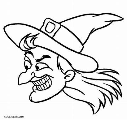 Witch Coloring Hat Pages Halloween Face Printable