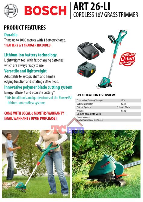 bosch 26 li cordless 18v grass trimmer power tool drill hardware shop singapore