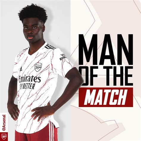 Bukayo Saka voted Arsenal's Man of the Match against ...