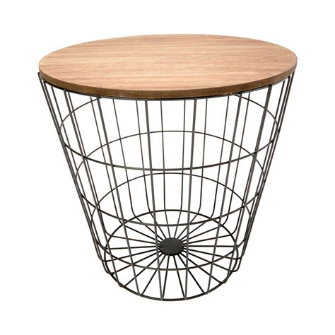 side table with baskets storage wire basket table natural black kmart