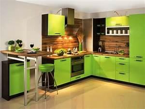 Deco cuisine vert marron for Idee deco cuisine avec cuisine gris et vert