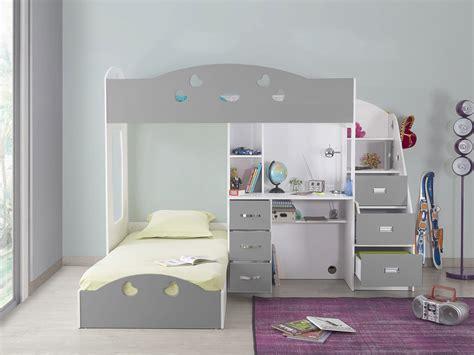 lit superposé bureau lit superposé avec rangements et bureau 90x190cm combal