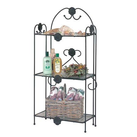 Wrought Iron Etagere Shelves by Vintage Wrought Iron Etagere Three Tier Glass Shelf