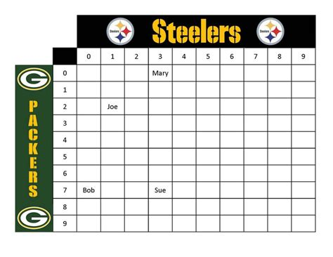 printable football squares steelers  packers kids activity