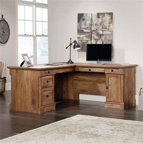 sauder palladia executive desk in vintage oak sauder palladia l shaped computer desk in vintage oak 420606
