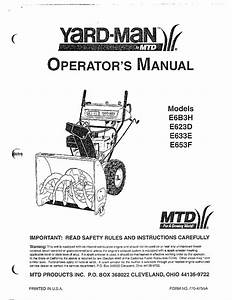 Mtd Yardman Snow Thrower Parts
