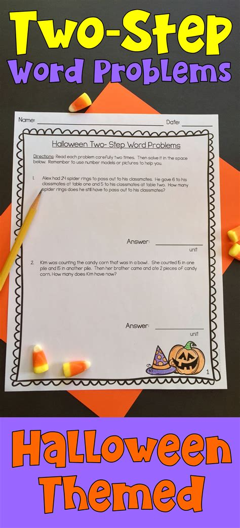 two step word problems halloween themed holiday