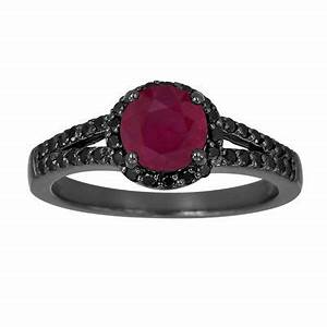 ruby black diamond engagement ring vintage style 14k With ruby and black diamond wedding rings