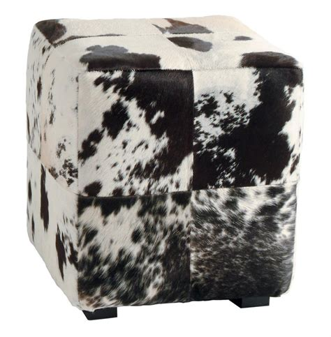 black and white ottoman hugo leather black and white hide contemporary patchwork