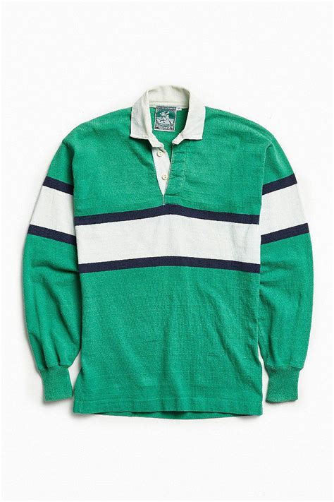 urban outfitters cotton vintage mcintosh seymour stripe rugby shirt  green  men lyst