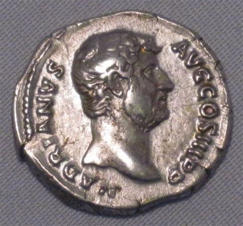 roman ancient silver denarius coin hadrian high grade wded