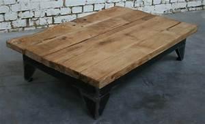 Table Basse Bois Industriel : table basse b 39 tb003 giani desmet meubles indus bois m tal et cuir ~ Teatrodelosmanantiales.com Idées de Décoration