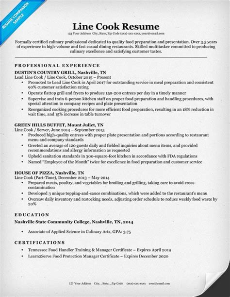 Resume Of A Cook by Line Cook Resume Sle Writing Tips Resume Companion