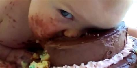babies eating birthday cakes a literal mashup huffpost