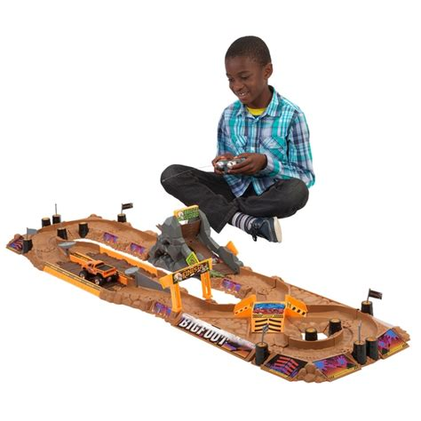 monster truck race track toy bigfoot arena rocker track playset with remote controlled