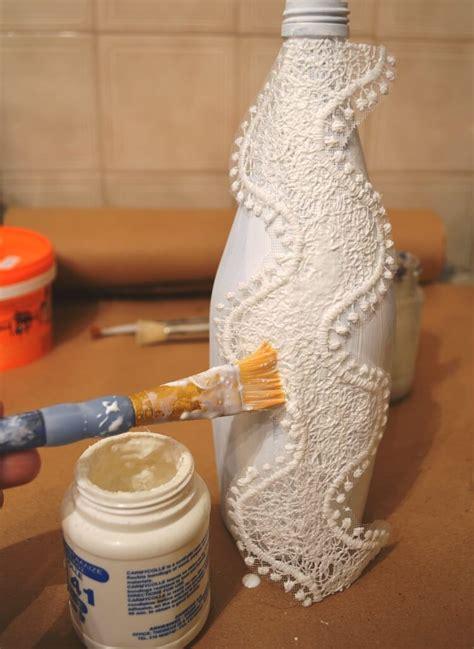 decoupage  glass bottle  pizzi goffre