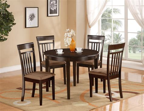 5 Pc Round Kitchen Dinette Table & 4 Chairs Cappuccino  Ebay