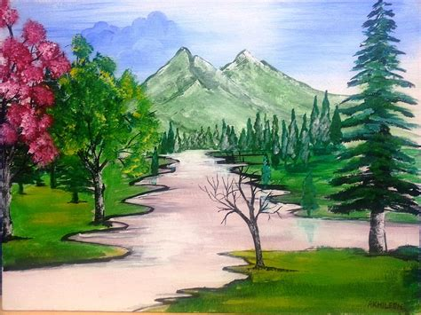 acrylic wall pictures peaceful environment painting by akhliesh gupta