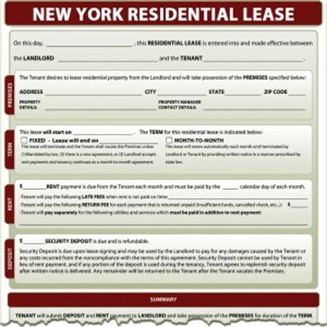 ny residential lease agreement new york residential lease