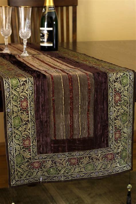 arabian velvet silk sequin table runner banarsi designs
