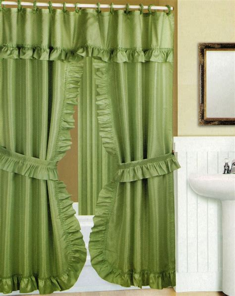 swag shower curtain with liner set peridot green