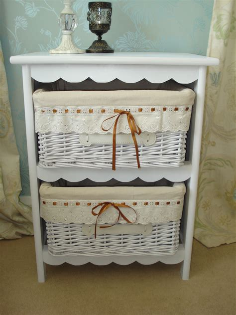 shabby chic storage baskets shabby chic basket storage unit white basket cabinet ebay