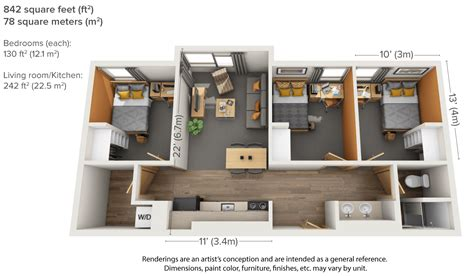 100 average square footage of a 3 bedroom apartment
