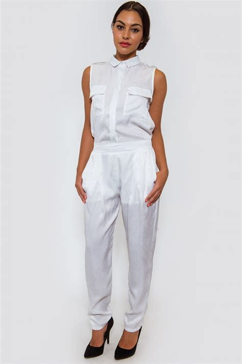 utility jumpsuit ella white satin utility jumpsuit the fashion bible from