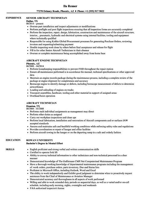 Aircraft Mechanic Resume by Aircraft Technician Resume Sles Velvet