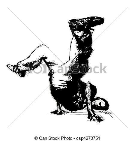 Vector Clip Art Of Break Dancer  Sketching Of The