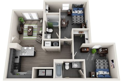 two bedroom apartments 2 bedroom student housing off campus apartment 13673   2 bedroom 3d copy