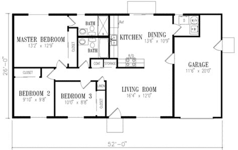 Ranch Style House Plan  3 Beds 200 Baths 1046 Sqft Plan