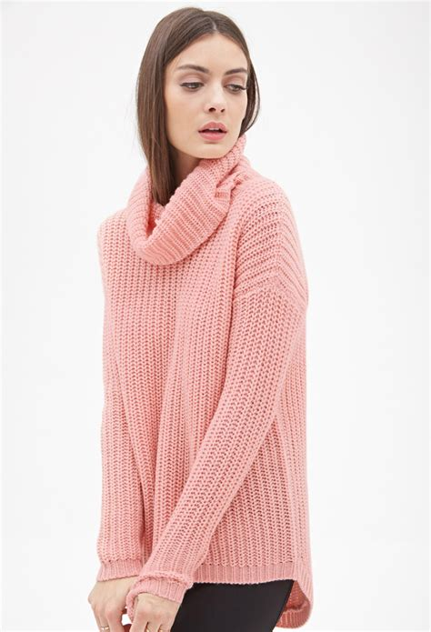oversized pink sweater forever 21 oversized turtleneck sweater in pink lyst