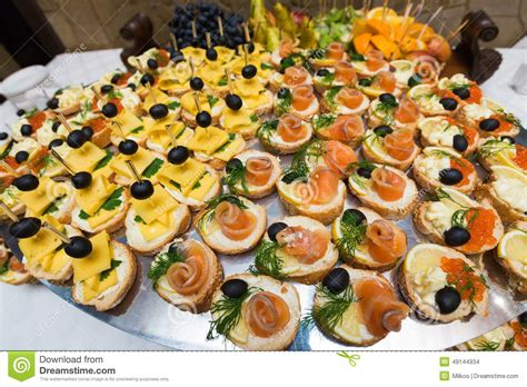 canape service catering of canape on table royalty free stock image