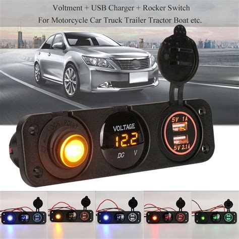 Cigarette Boat License Plate by Dc 12v Universal Voltmeter Dual Usb Car Charger Rocker