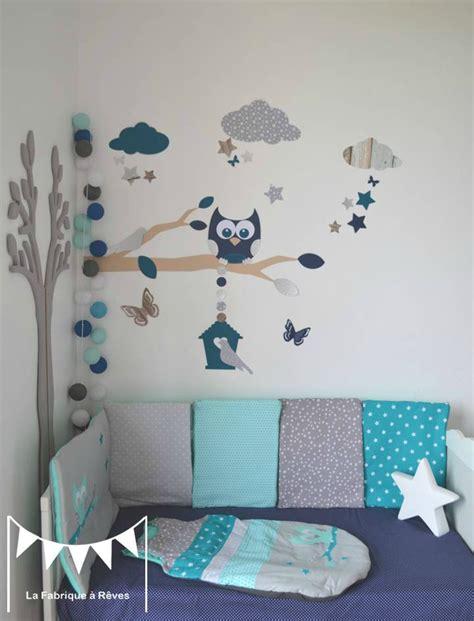 deco chambre bebe bleu gris stickers décoration chambre enfant garçon bébé branche