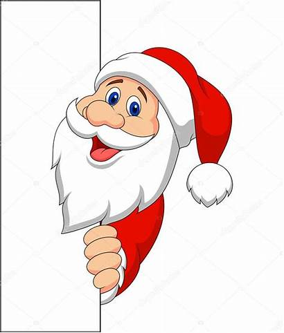 Santa Claus Holding Blank Weihnachtsmann Cartoon Noel