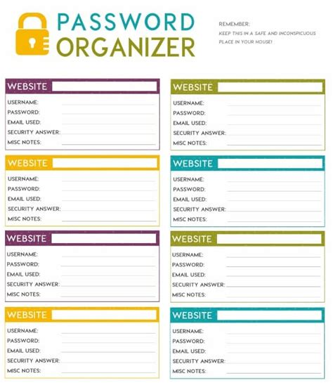 password keeper template free printable password organizer a k a printable password sheet