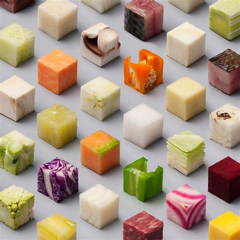 cuisine futur a variety of unprocessed foods cut into uncannily precise