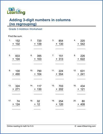 grade  addition worksheets  printable addition